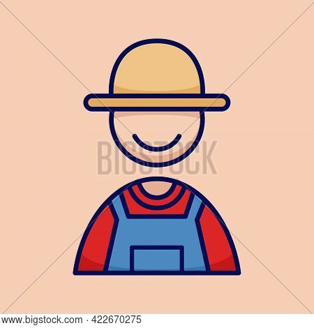 Village Farmer Rancher People Icon Simple And Minimalist In Cartoon Outlined Graphic Vector Illustra