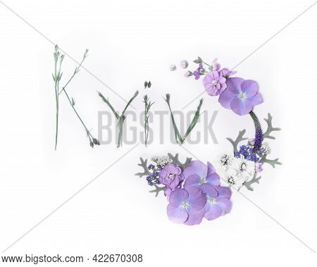 Text Kyiv Made Of Flower Stems Decorated With Purple Hydrangea Flowers Composition Isolated On White