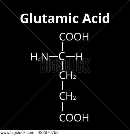 Glutamic Acid Is An Amino Acid. Chemical Molecular Formula Glutamic Acid Amino Acid. Illustration On