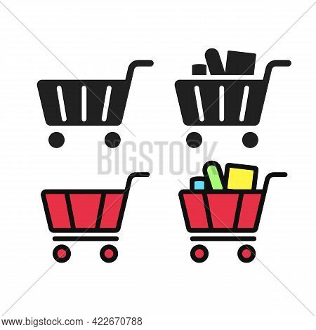 Gorcery Shopping Cart Icon Bold Fill Black And Outline Fill Style