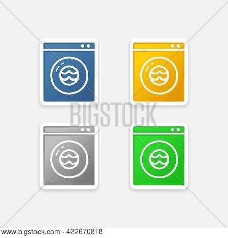 Laundry Wash Machine Glossy Sticker Icon Set