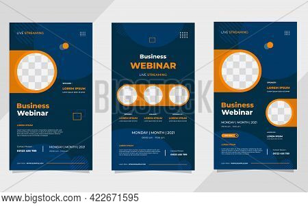 Set Of Business Webinar Social Media Stories Post Template With Geometric Background And Circle Fram
