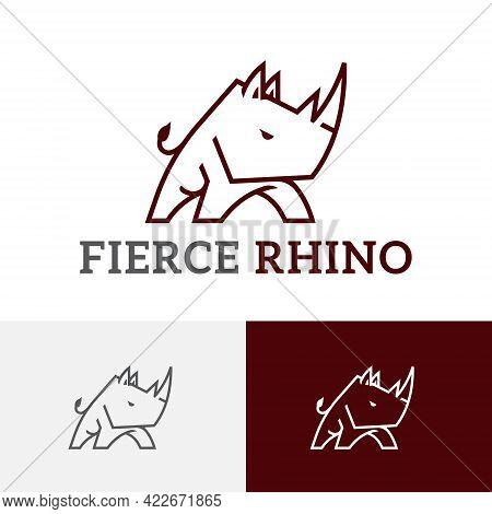 Fierce Alert Rhino Rhinoceros Animal Security Simple Line Logo