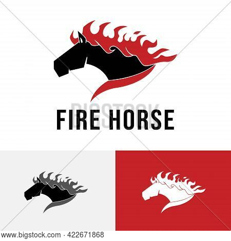 Fire Flame Burning Horse Run Fast Racehorse Logo