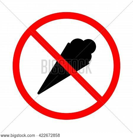 Do Not Enter With Ice Cream Black Icon. Red Forbidding Sign. No Ice Cream. Forbidden Ice Cream. Isol