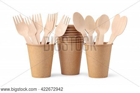 Disposable Paper Cups With Wooden Forks And Spoons Isolated On White Background. Eco Friendly Dispos