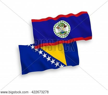 National Fabric Wave Flags Of Belize And Bosnia And Herzegovina Isolated On White Background. 1 To 2