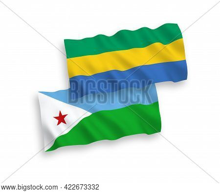 National Fabric Wave Flags Of Republic Of Djibouti And Gabon Isolated On White Background. 1 To 2 Pr