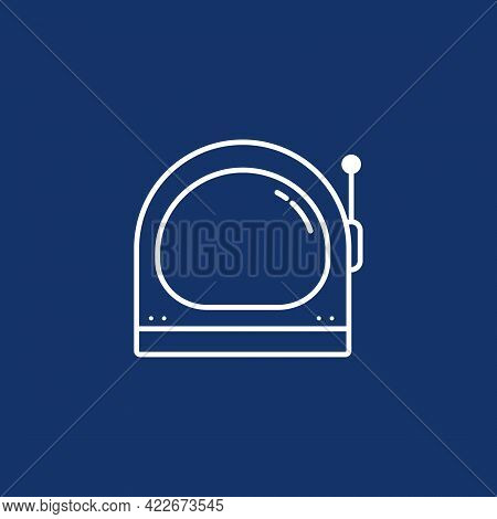 Spaceman Or Astronaut Helmet Icon In Outline Or Monoline Style