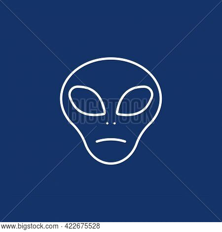 Unfriendly Simple Alien Face Icon In Outline Or Monoline Style