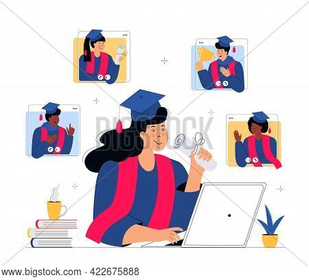 A Virtual Graduation Ceremony. Graduates Celebrate During Coronavirus Quarantine. A Woman In Gown An