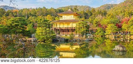 Beautiful Of Kinkakuji Temple Or The Golden Pavilion In Autumn Foliage Season, Landmark And Famous F
