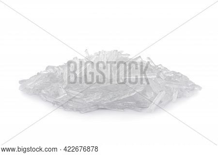Heap Of Menthol Crystals On White Background