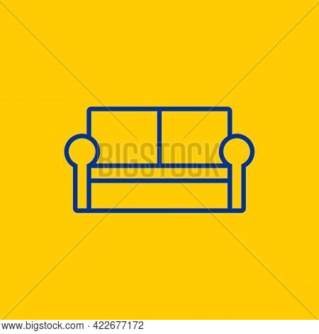 Simple Family Lounge Sofa Blue Line Icon On Yellow Background