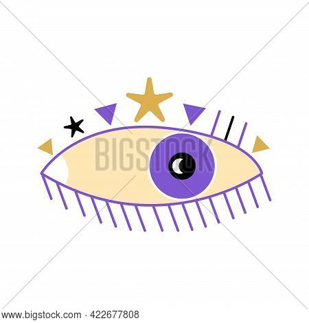Esoteric Boho Eye Icon With Starsand Triangle Shapes. Vector Cartoon Illustration Isolated On White