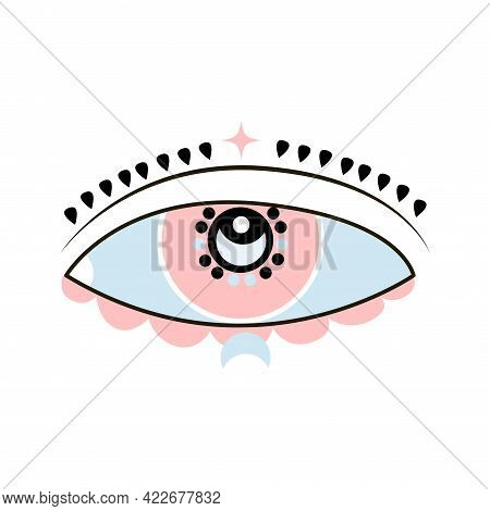 Esoteric Boho Eye Icon With Moon And Star Shape. Vector Cartoon Illustration Isolated On White