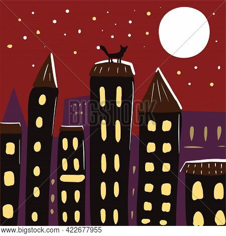 Night City With Houses, Roofs And The Moon In Cartoon Style. Vector Hand Drawn Illustration