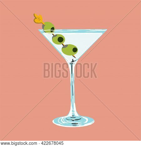 Glass Of Martini With Green Olives On Skewer. Vector Cartoon Hand Drawn Illustration