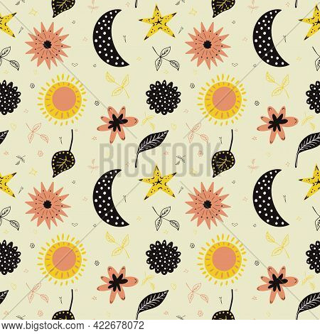 Boho Seamless Pattern With Moon, Sun, Cute Flowers In Doodle Style. Vector Cartoon Hand Drawn Illust