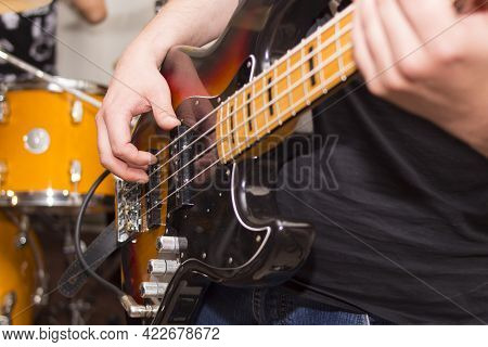 Electric Guitar Close Up In The Hands Of A Guitarist