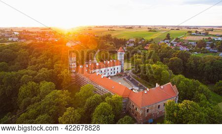 Aerial Panorama Of Historical Panemune Castle In Vytenai, Jurbarkas District. Lithuania Historical T
