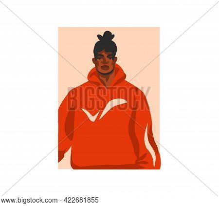 Hand Drawn Vector Flat Abstract Stock Graphic Illustration With Young Happy, In Summer Outfit, Afric