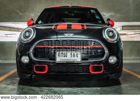 Bangkok, Thailand - 27 May 2021 : Front View Close Up Shot Of Black Mini Cooper Parked In The Parkin