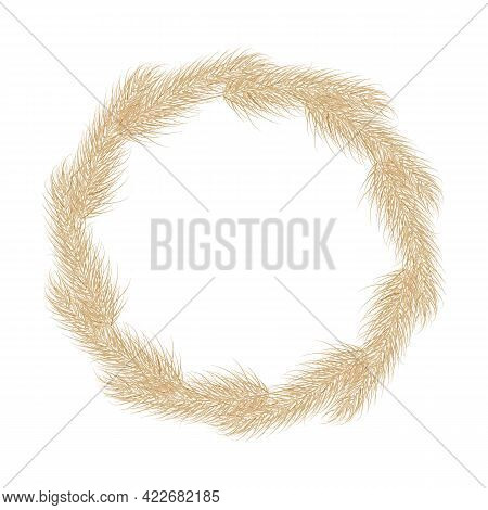 Wreath Of Pampas Dry Grass Circle Boho Frame. Branch Of Pampas Grass. Panicle, Feather Flower Head.