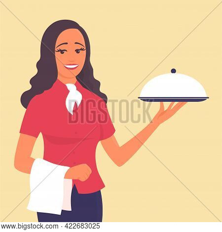 A Beautiful Girl Waiter Stands With A Tray In His Hand