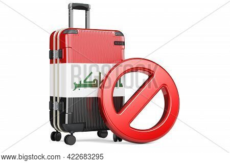 Iraq Entry Ban. Suitcase With Iraqi Flag And Prohibition Sign. 3d Rendering Isolated On White Backgr