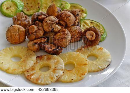 Deliciously Prepared Grilled Vegetables, Restaurant Serving. Restaurant Serving.