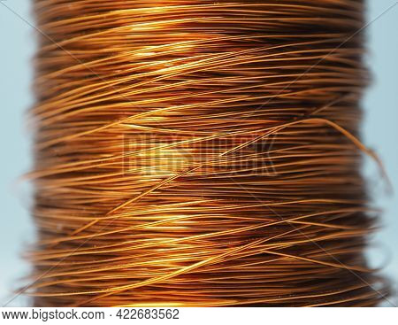 Copper Wire Close Up. Copper Wire Coil. Copper Wire Background. Components For Electronic Household
