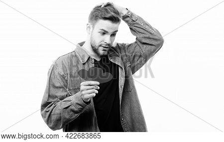 Guy Well Groomed Hold Heart White Background. Romantic Macho. Man With Beard Celebrate Valentines Da