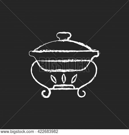 Warming Tray Chalk White Icon On Dark Background. Chafing Dish For Storing Foods. Container Which Ke