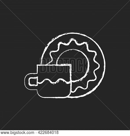Cup And Saucer Set Chalk White Icon On Dark Background. Dinning Accessories For Tea Party. Container