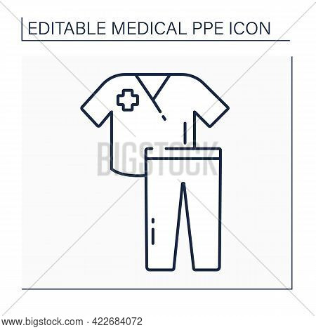 Scrub Suit Line Icon. Personal Protective Equipment. Uniform For Doctor, Nurse. Medical Ppe Concept.