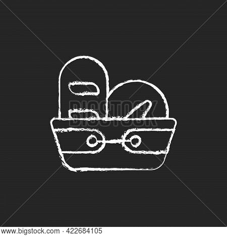 Bread Basket Chalk White Icon On Dark Background. Container For Storing Bakery Products. Special Kit