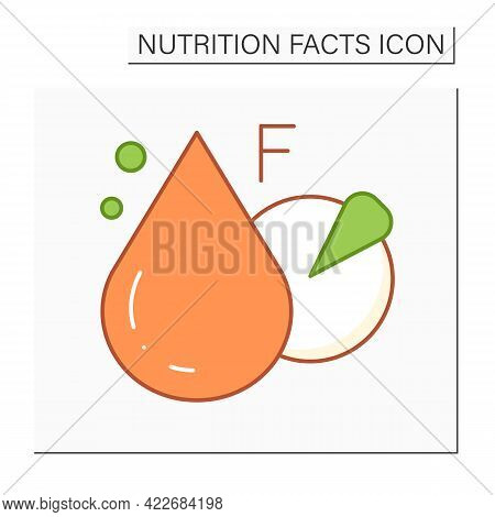 Total Fat Color Icon. Fat Content. Macronutrients. Nutrition Facts. Healthy, Balanced Nutrition Conc