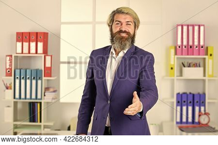 Welcome. You Hired. Welcome Team Member. Recruiter Professional Occupation. Man Bearded Manager Recr