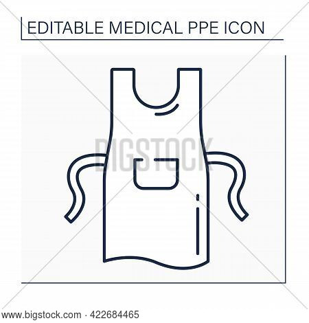 Apron Line Icon. Personal Protective Equipment. Special Equipment For Surgeons. Medical Ppe Concept.