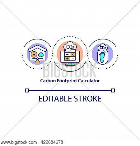 Carbon Footprint Calculator Concept Icon. Estimating Impact On Environment Abstract Idea Thin Line I