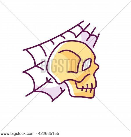 Skull With Spider Web Rgb Color Icon. Horror Story. Halloween Decoration. Solving Puzzles, Clues For