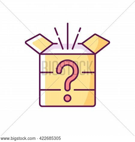 Mystery Box Rgb Color Icon. Chest With Question Mark. Win Surprise. Solving Puzzles, Clues For Riddl
