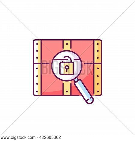 Chest With Lock Rgb Color Icon. Search For Pirate Treasure. Open Casket. Solving Puzzles, Clues For
