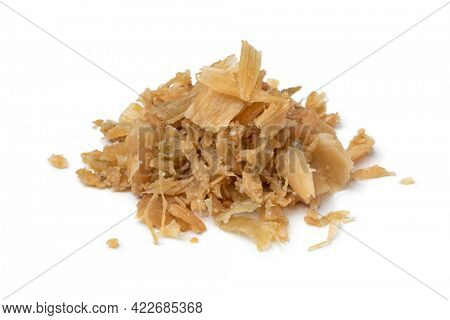 Heap of traditional Chinese fermented cabbage, tung choi, isolated on white background