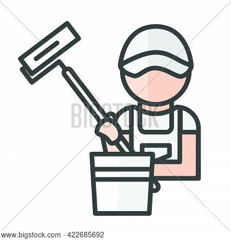 Painter Avatar. Man Working. Profile User, Person. People Icon. Isolated Vector Illustration