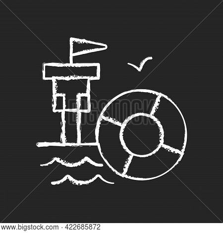 Lifeguarding Training Chalk White Icon On Dark Background. First Aid. Water Emergencies Prevention A