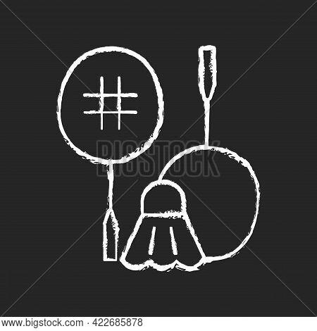 Badminton Chalk White Icon On Dark Background. Hitting Shuttlecock Over Net. Heart-racing Workout. R