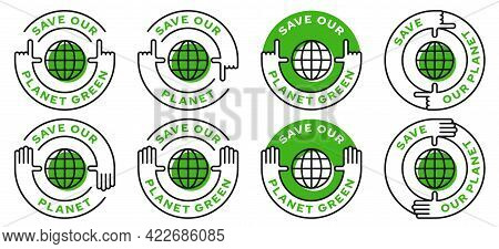 Set Of Conceptual Environmental Stamps, Logos. Human Nature Conservation Symbol. A Call To Keep Our