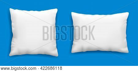 Clean White Pillows Mockup Isolated On Blue Background, Vector Illustration In Realistic Style. Squa